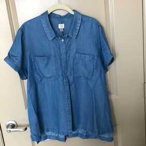 Chambray button up blouse